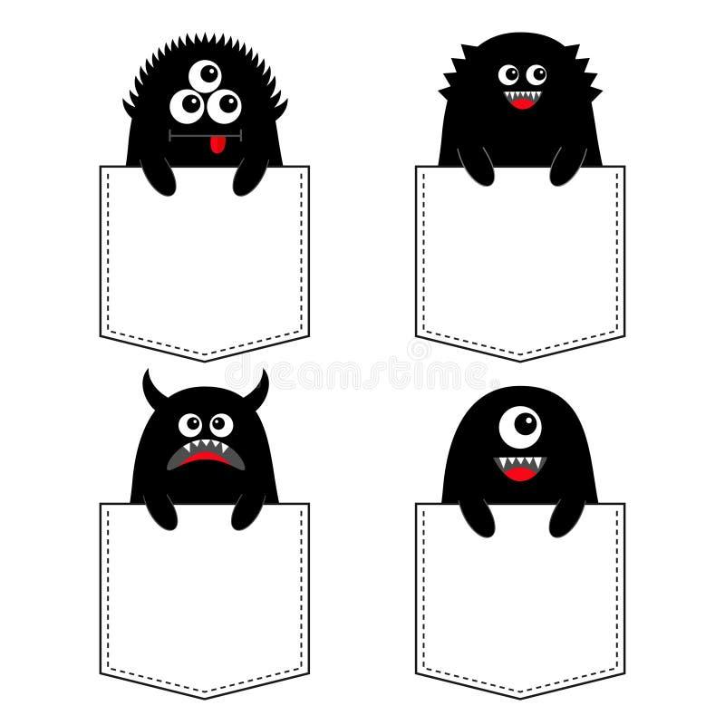 在口袋设置的黑妖怪剪影 现有量暂挂 愉快的万圣节 逗人喜爱的动画片可怕滑稽的字符 婴孩汇集 T 皇族释放例证