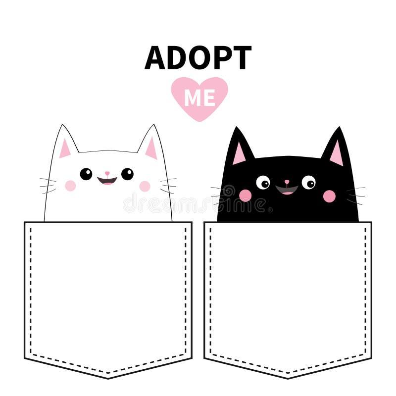 在口袋设置的黑白色猫 采取我 逗人喜爱动物的动画片 小猫全部赌注字符 宠物汇集 背景黑色关闭设计蛋炸锅衬衣t 向量例证