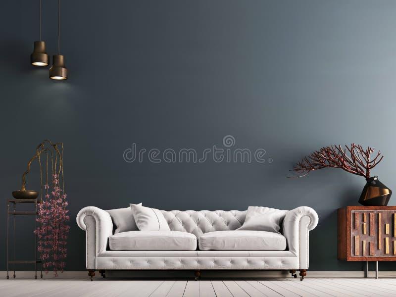 在古典样式内部的空的墙壁与在灰色背景墙壁上的白色沙发 向量例证