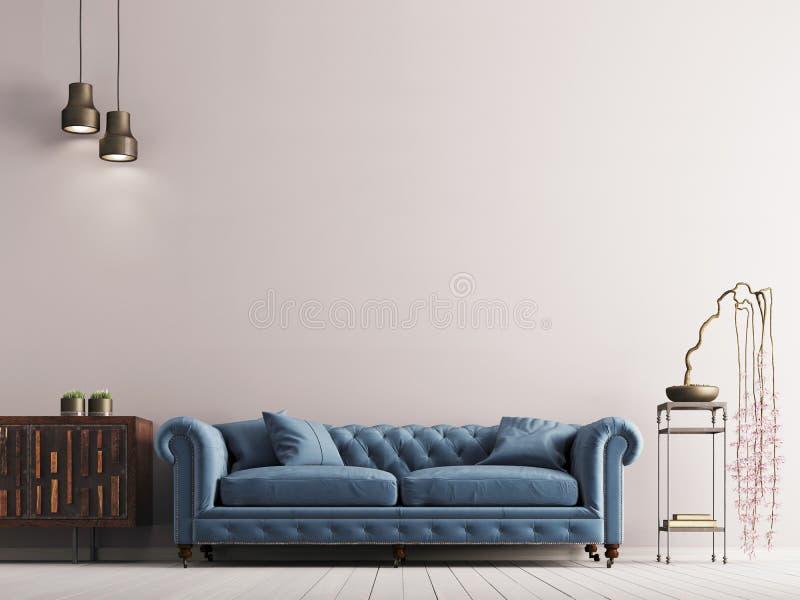 在古典样式内部的空的墙壁与在灰色背景墙壁上的蓝色沙发 库存例证