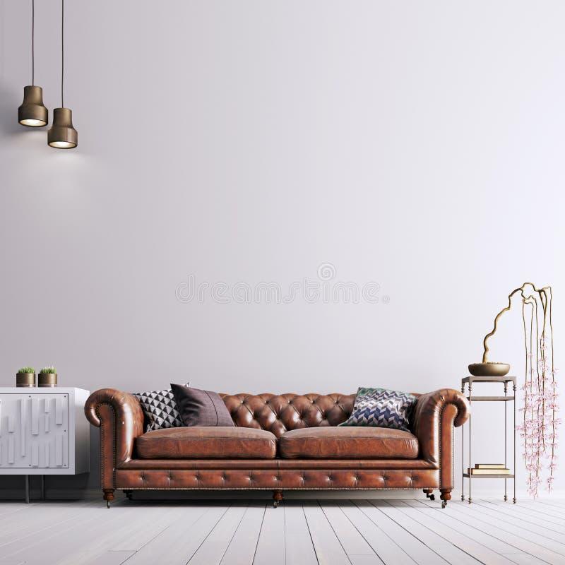 在古典样式的空的墙壁与皮革沙发和植物 皇族释放例证