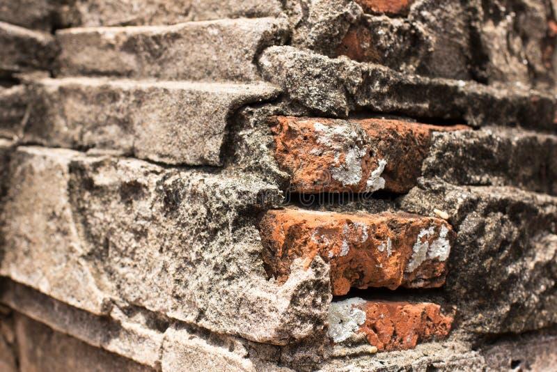 在古庙的削皮墙壁在Ayuttaya 免版税库存图片
