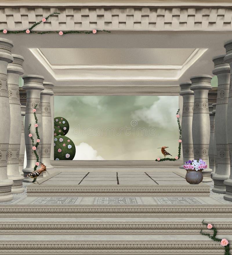 在古庙的神奇段落 向量例证