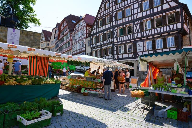 在古老历史的房子,施韦比施哈尔县,亚丁乌特姆博格,德国半木料半灰泥的房子前面的每周市场  免版税库存照片