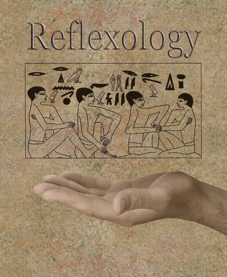 在古老埃及象形文字描述的反射论 免版税库存照片