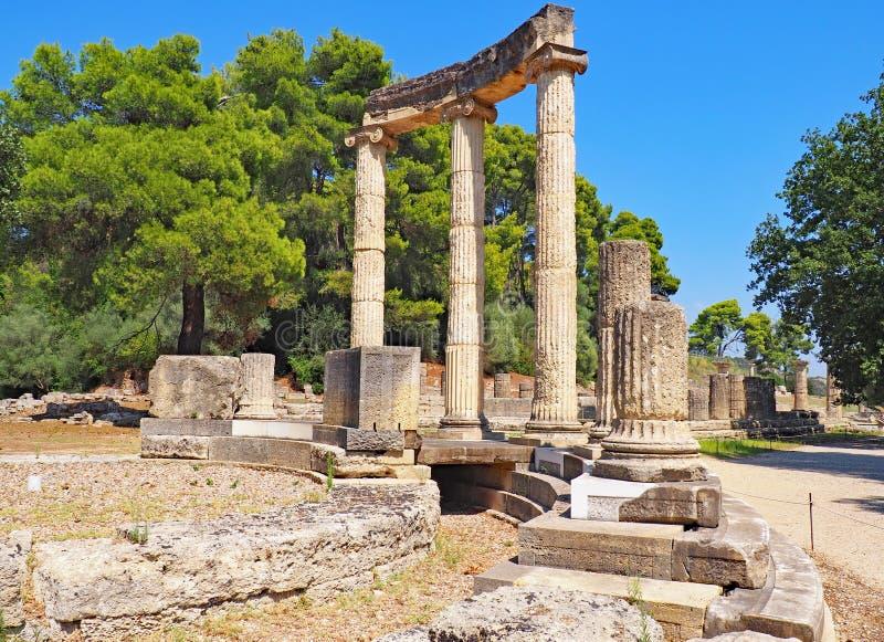 在古老奥林匹亚站点的废墟在希腊 免版税库存图片