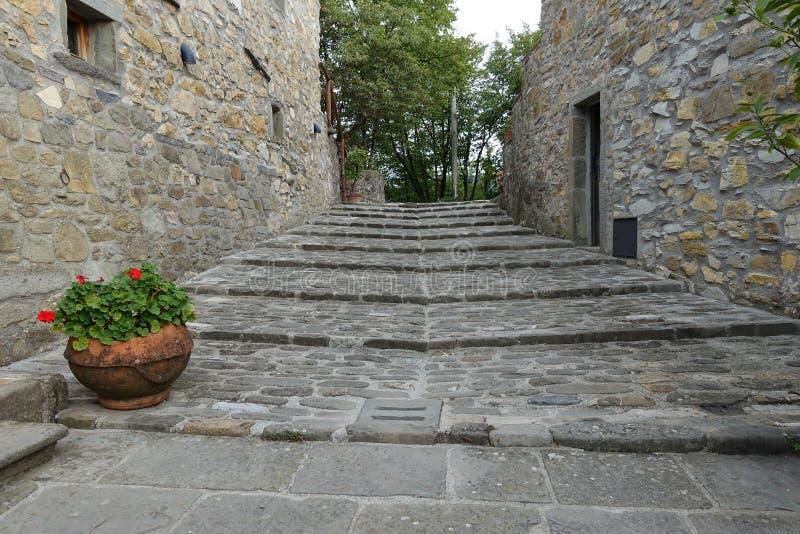 在古老托斯卡纳农舍,意大利,欧洲的中世纪楼梯 免版税库存照片
