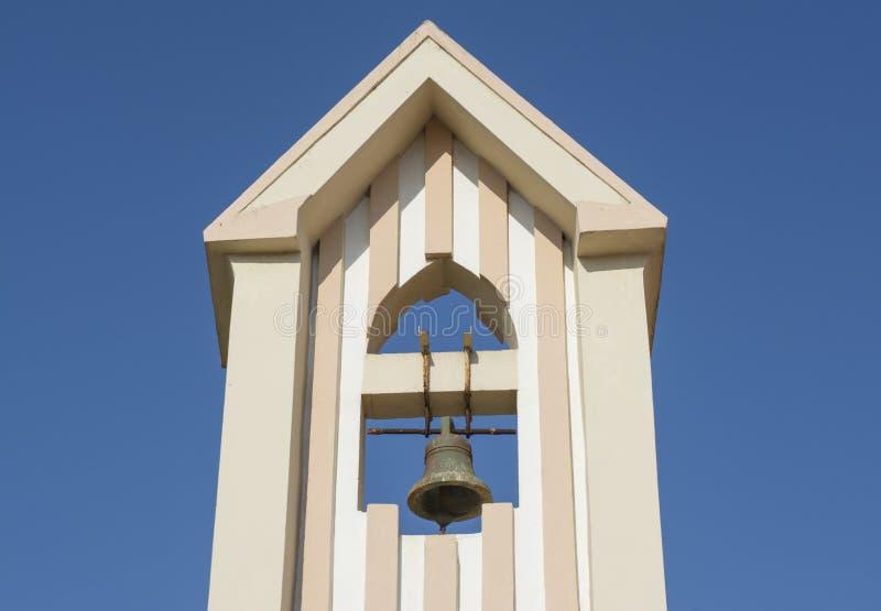 在古老教会的钟楼内贡博镇的 库存图片
