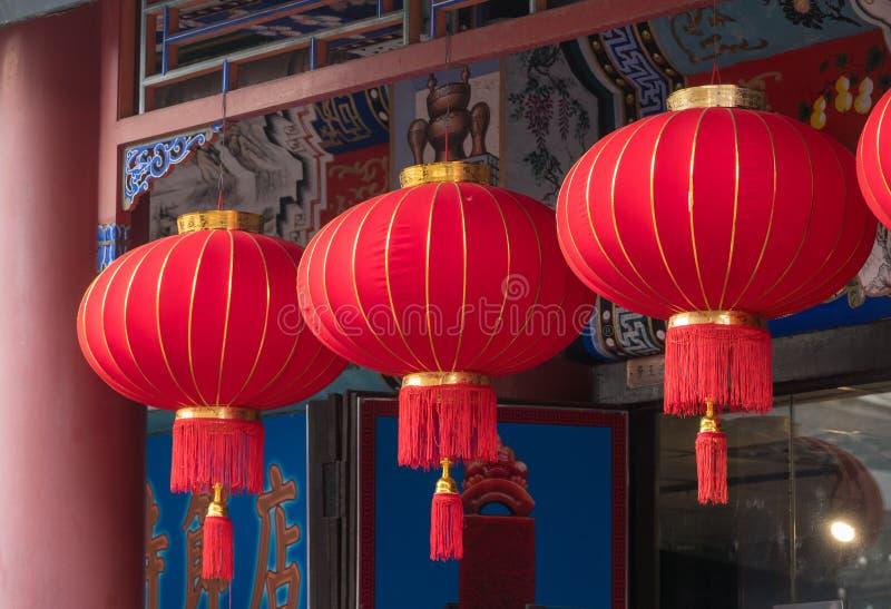在古老文化街道上的灯笼在天津 免版税库存照片