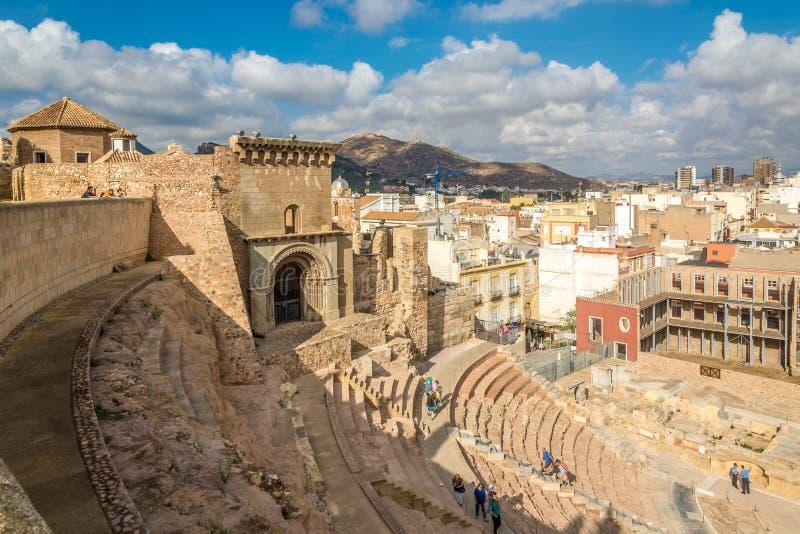 在古老罗马剧院的看法在卡塔赫钠-西班牙 库存照片