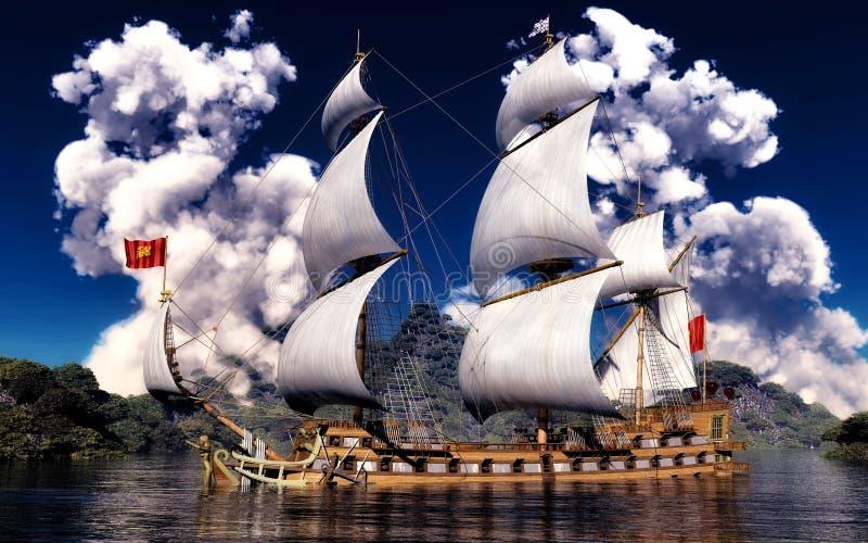 在古老船的白色烟 库存图片