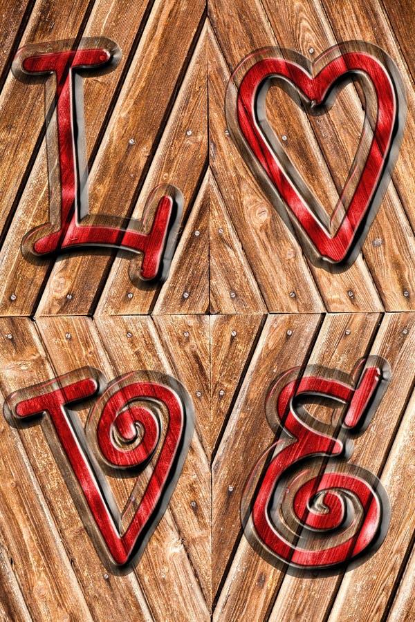在古色古香的木头和红色被铭记的词爱的浪漫背景以上 向量例证