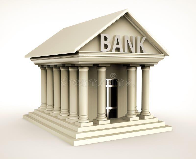 在古色古香的样式的银行大楼与柱子 皇族释放例证