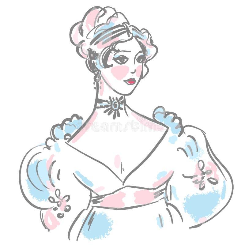 在古色古香的礼服的年轻女人画象 长的卷曲梳的头发 19世纪发型,去的球,耳环 库存例证