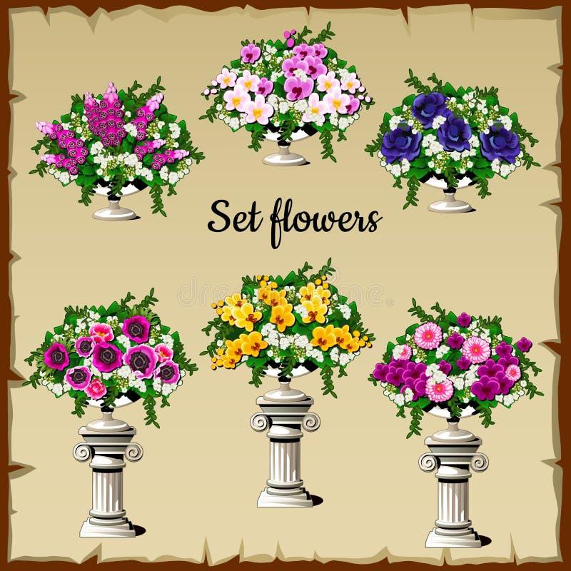 在古色古香的花瓶的不同的花花束 向量例证