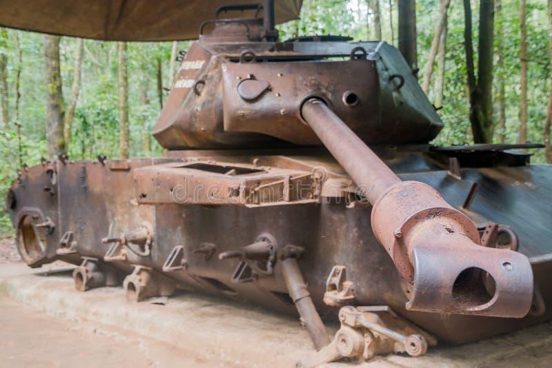 在古芝池氏隧道的坦克,胡志明市,越南 免版税库存照片