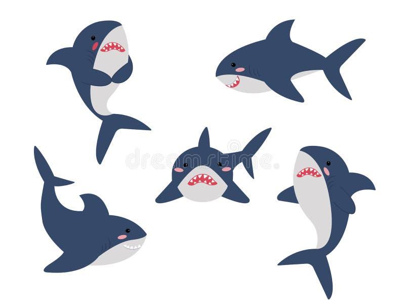 在另外姿势汇集集合的动画片鲨鱼 查出的向量例证 向量例证