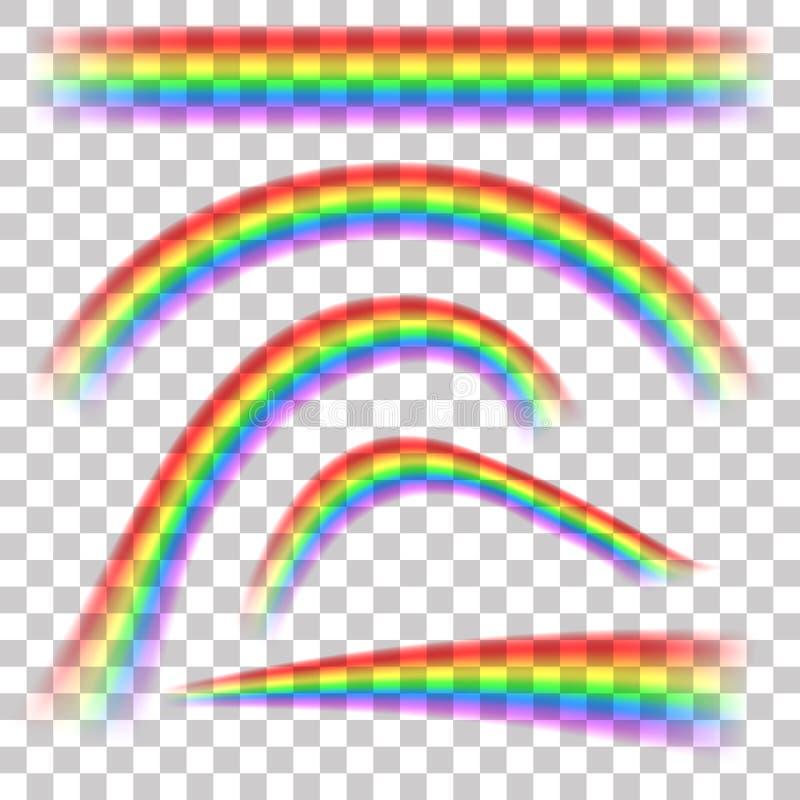 在另外形状现实集合的彩虹在透明背景 皇族释放例证