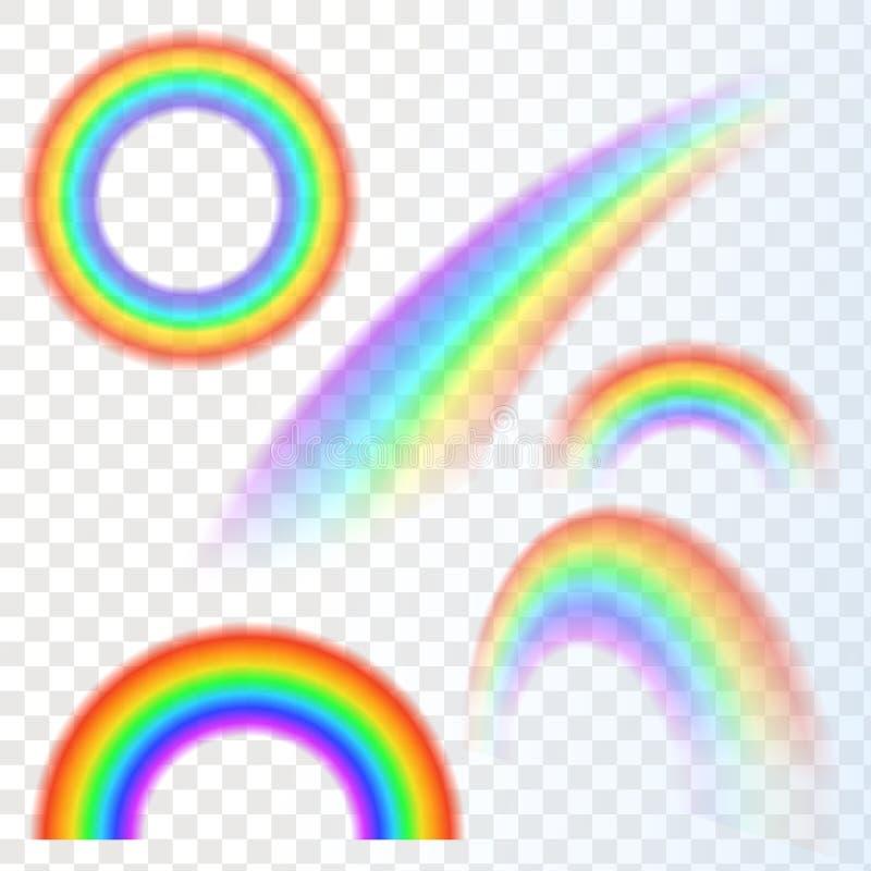 在另外形状现实集合的彩虹 库存例证