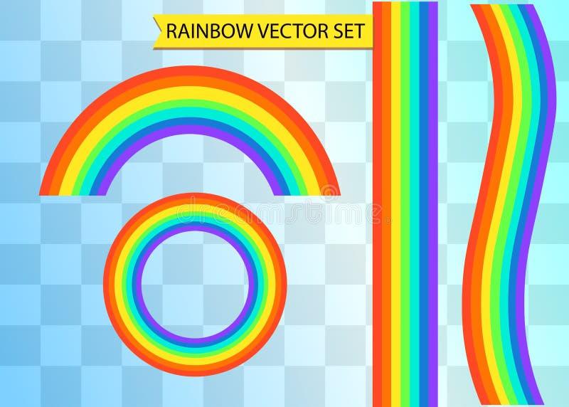 在另外形状的彩虹 在透明背景的现实集合 皇族释放例证