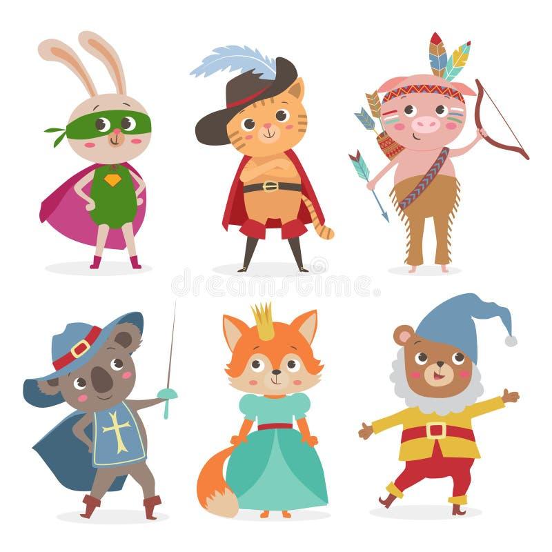 在另外服装的逗人喜爱的动物孩子 动画片传染媒介illustrati 库存例证