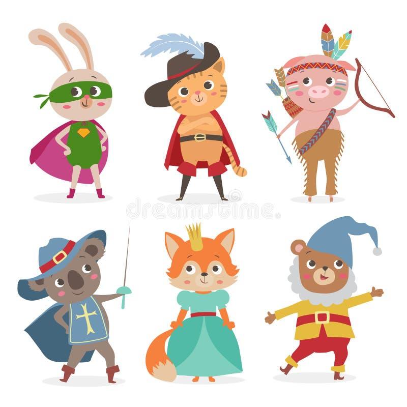 在另外服装的逗人喜爱的动物孩子 动画片传染媒介illustrati 向量例证