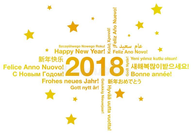 在另外语言贺卡概念的新年快乐 向量例证