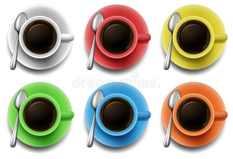 Download 在另外颜色杯子的热的咖啡 向量例证. 插画 包括有 夹子, 黑暗, 饮料, 打赌的人, 服务, 茶点, 咖啡 - 59108312