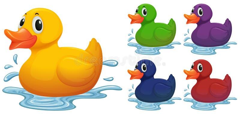 在另外颜色的鸭子玩具 向量例证