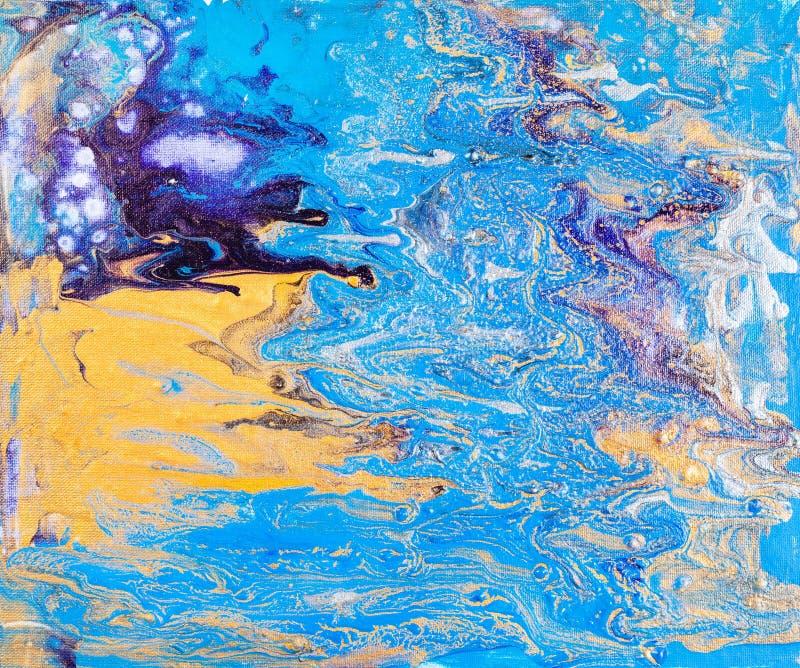 在可变的丙烯酸酯的流程绘画的抽象图片 皇族释放例证