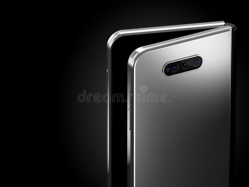 在可折叠的智能手机可折叠的概念射击的特写镜头在更长的边的 在黑背景隔绝的灵活的智能手机 3d 皇族释放例证