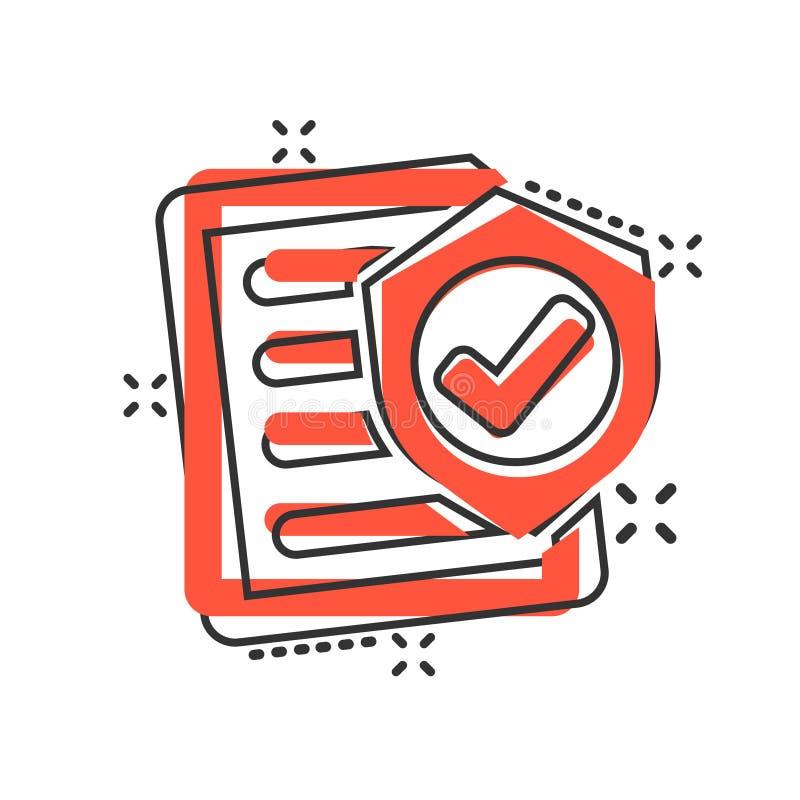 在可笑的样式的保险单象 报告传染媒介在白色被隔绝的背景的动画片例证 文件企业概念 库存例证