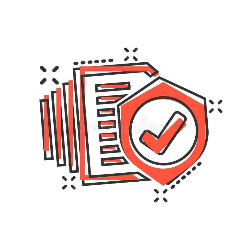 在可笑的样式的保险单象 报告传染媒介在白色被隔绝的背景的动画片例证 文件企业概念 向量例证