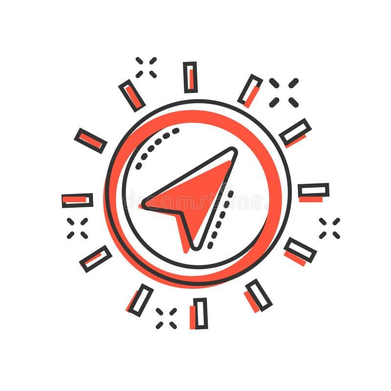 在可笑的样式的全球性航海象 指南针gps导航在白色被隔绝的背景的动画片例证 地点发现 向量例证