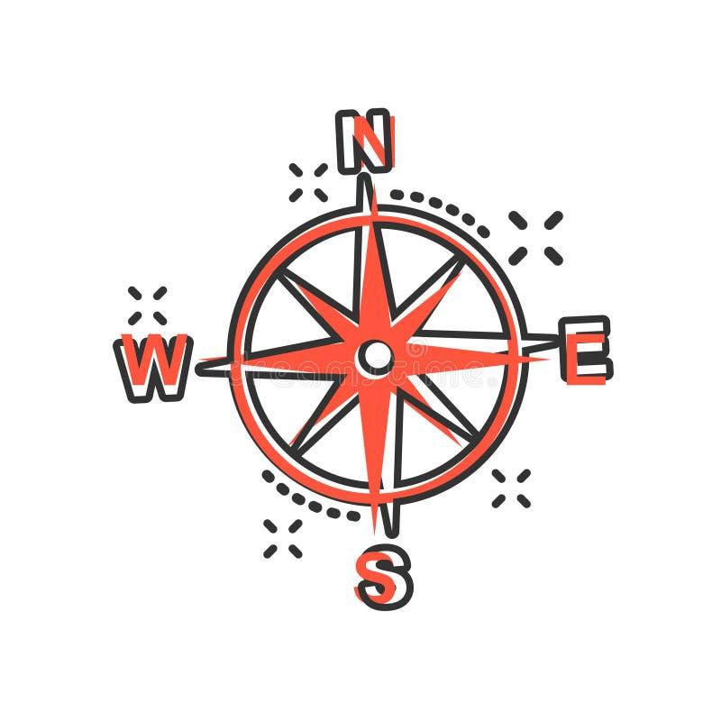 在可笑的样式的全球性航海象 指南针gps导航在白色被隔绝的背景的动画片例证 地点发现 库存例证