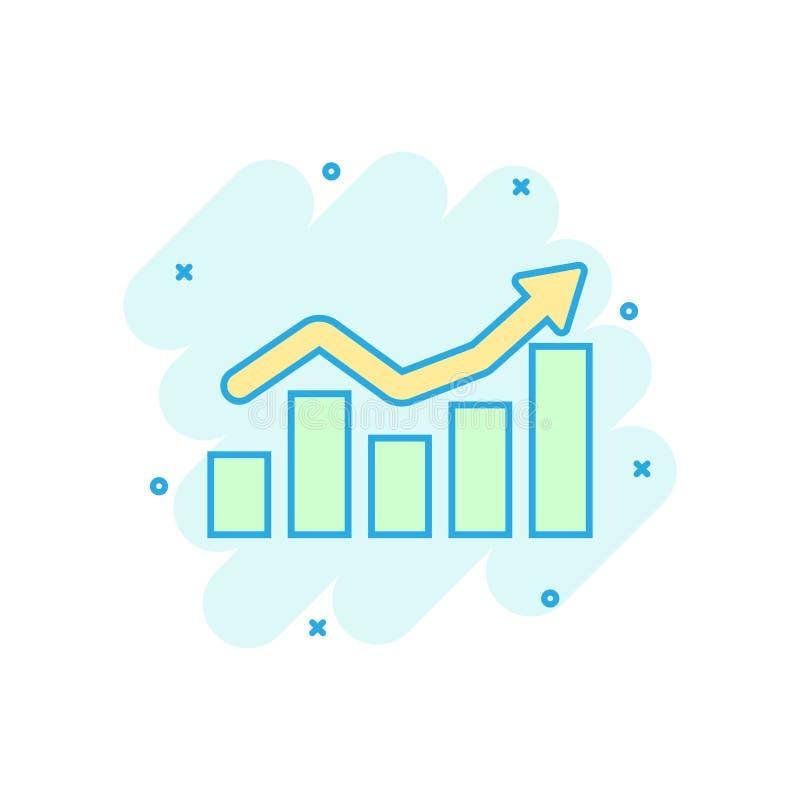 在可笑的样式的增长的长条图象 增量箭头传染媒介动画片例证图表 Infographic进展企业概念 向量例证