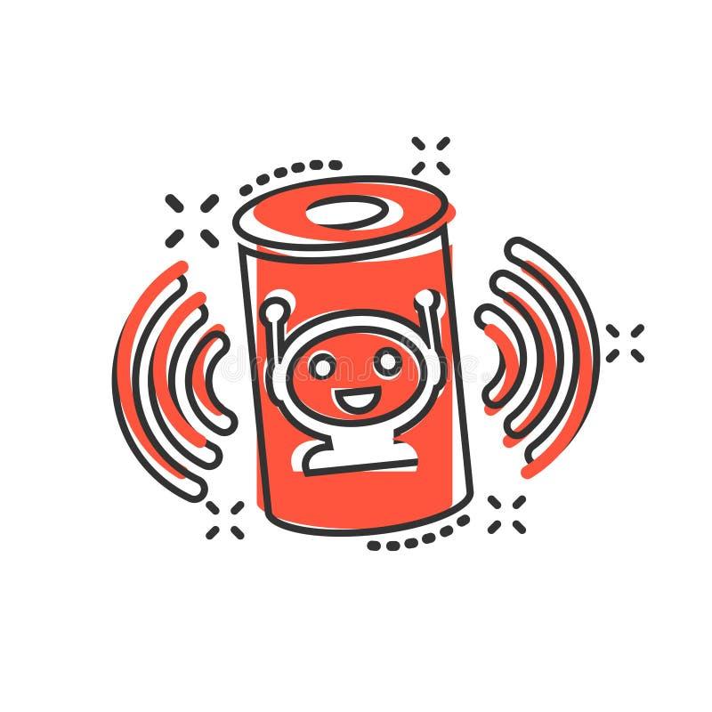 在可笑的样式的声音辅助象 在白色被隔绝的背景的聪明的家庭协助传染媒介动画片例证 指挥中心 向量例证