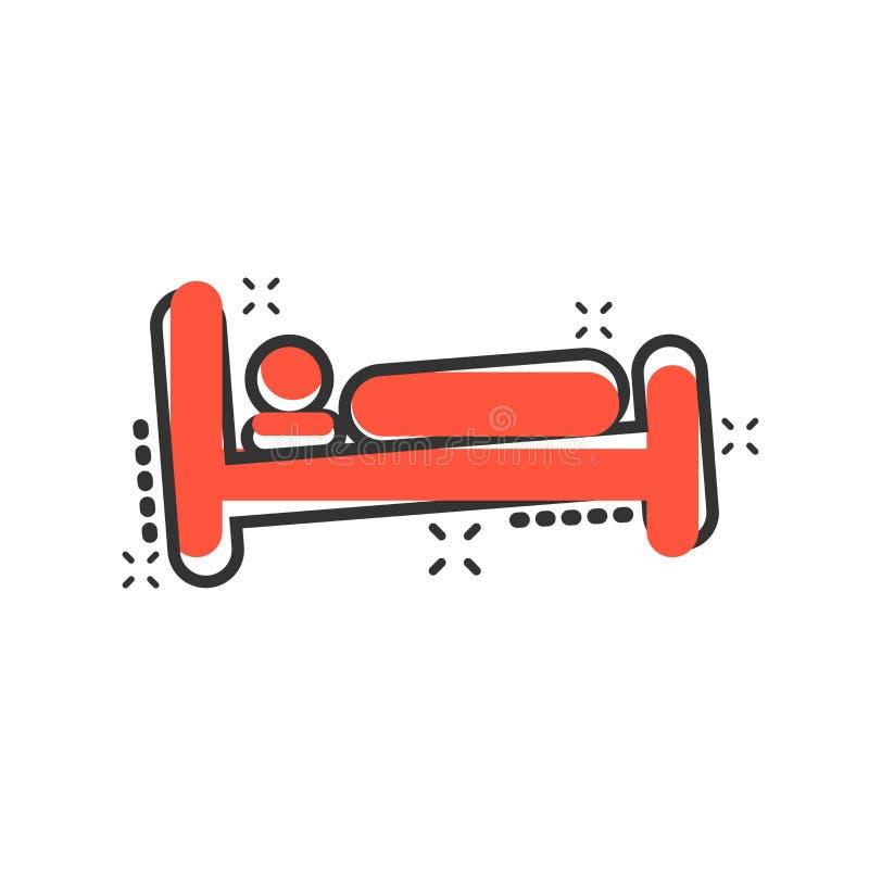 在可笑的样式的床象 睡眠卧室传染媒介动画片例证图表 放松沙发企业概念飞溅作用 向量例证