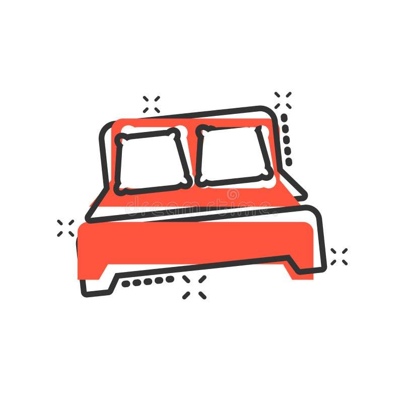 在可笑的样式的床象 睡眠卧室传染媒介动画片例证图表 放松沙发企业概念飞溅作用 皇族释放例证
