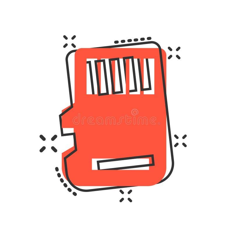 在可笑的样式的微SD卡片象 存储芯片传染媒介在白色被隔绝的背景的动画片例证 存贮适配器事务 向量例证