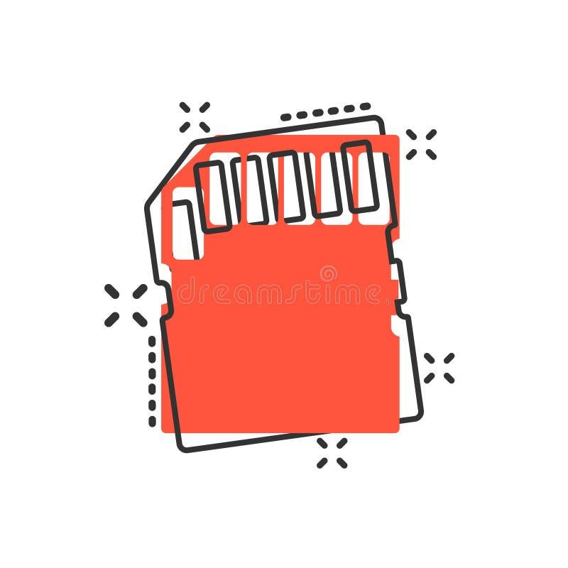 在可笑的样式的微SD卡片象 存储芯片传染媒介在白色被隔绝的背景的动画片例证 存贮适配器事务 皇族释放例证