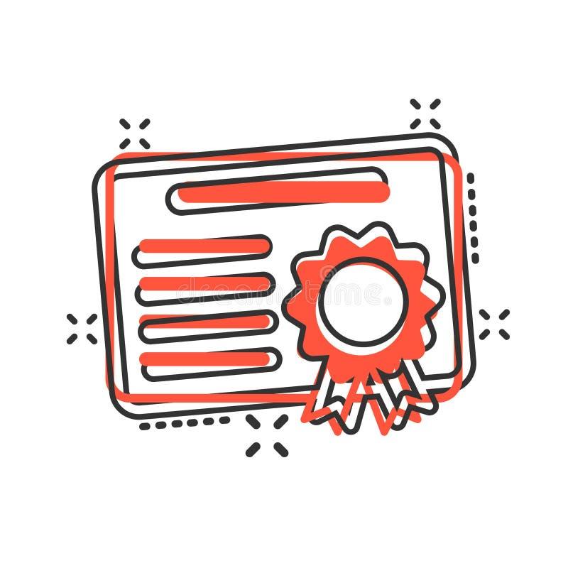 在可笑的样式的证明象 执照徽章传染媒介在白色被隔绝的背景的动画片例证 优胜者奖牌飞溅 向量例证