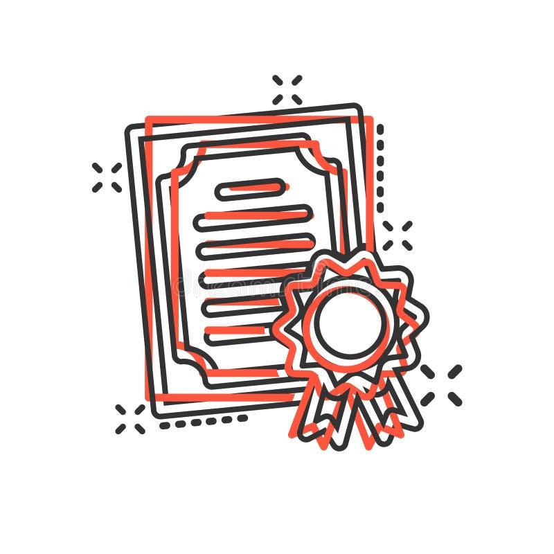 在可笑的样式的证明象 执照徽章传染媒介在白色被隔绝的背景的动画片例证 优胜者奖牌飞溅 皇族释放例证