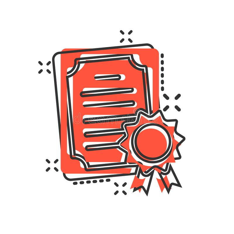 在可笑的样式的证明象 执照徽章传染媒介在白色被隔绝的背景的动画片例证 优胜者奖牌飞溅 库存例证
