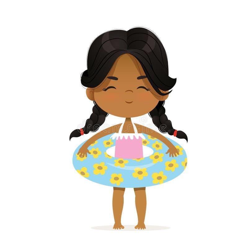 在可膨胀的圈子的逗人喜爱的非裔美国人的女孩逗留 孩子在夏天放松 有可膨胀的圆环的池边聚会女孩 向量例证