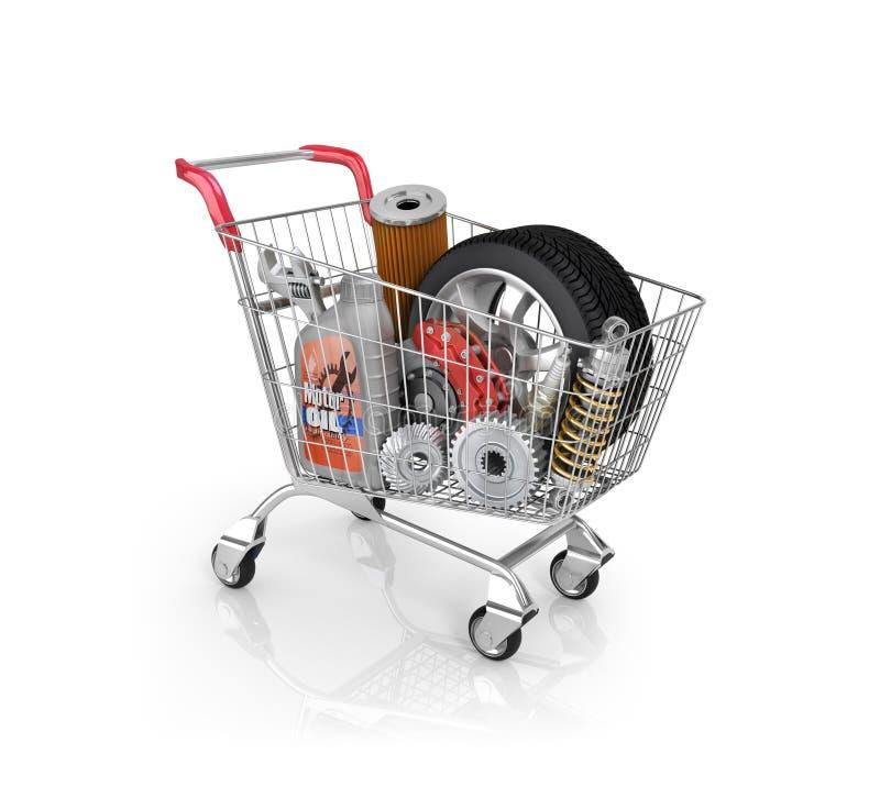 在台车的汽车零件 汽车零件商店 汽车篮子s 向量例证