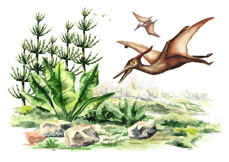 在史前风景的翼手龙恐龙 在白色背景隔绝的水彩手拉的例证 皇族释放例证