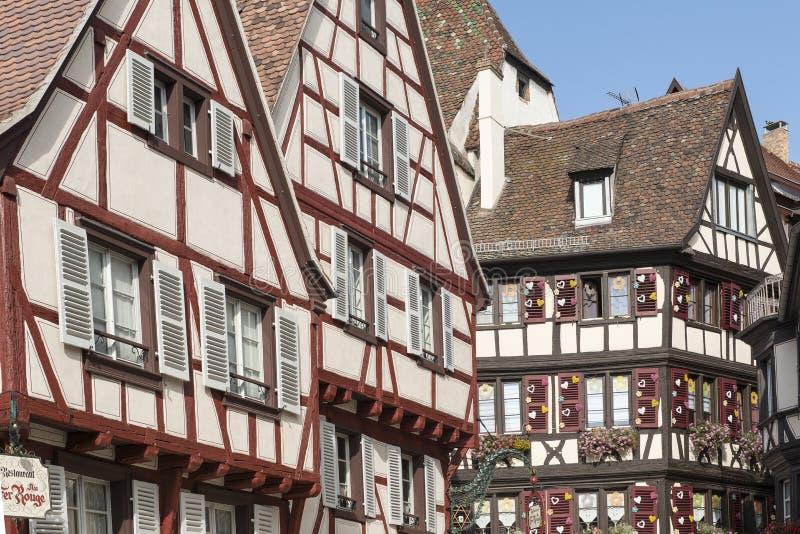 在史特拉斯堡街道的中世纪建筑学  免版税图库摄影