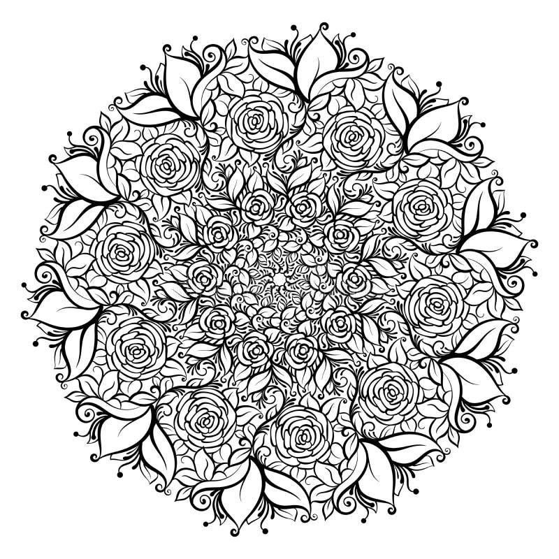 在叶子和漩涡冠的手拉的华丽玫瑰色花  查出的向量例证 邀请元素 库存例证