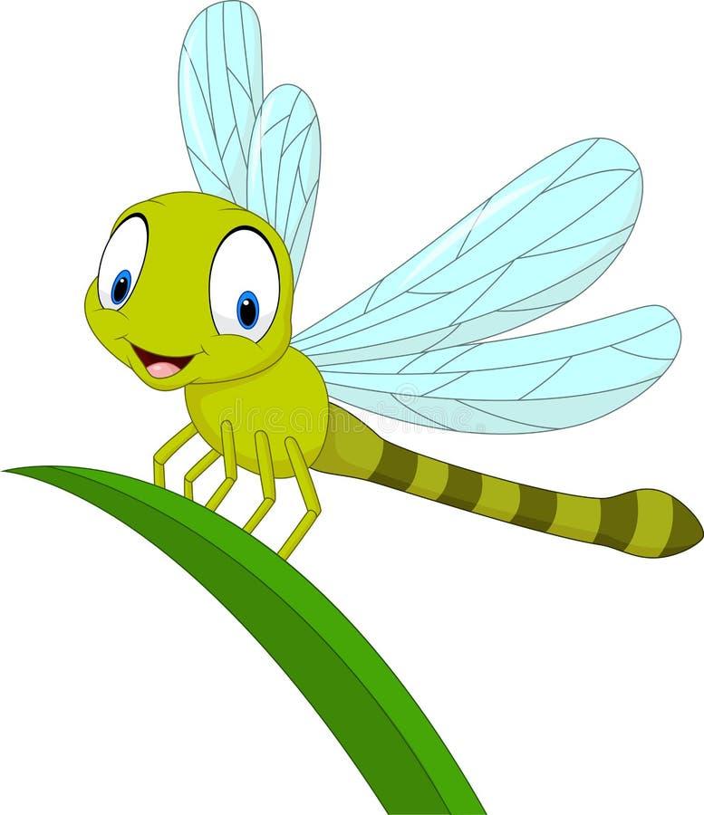 在叶子的动画片滑稽的蜻蜓 向量例证